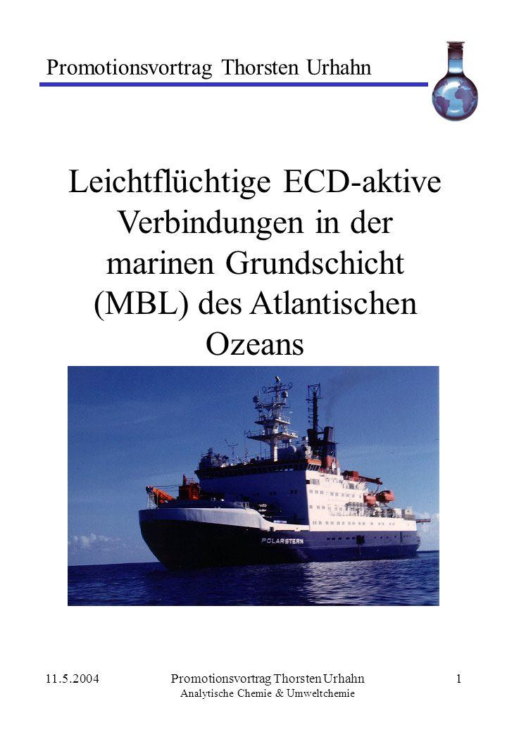 11.5.2004Promotionsvortrag Thorsten Urhahn Analytische Chemie & Umweltchemie 1 Leichtflüchtige ECD-aktive Verbindungen in der marinen Grundschicht (MB