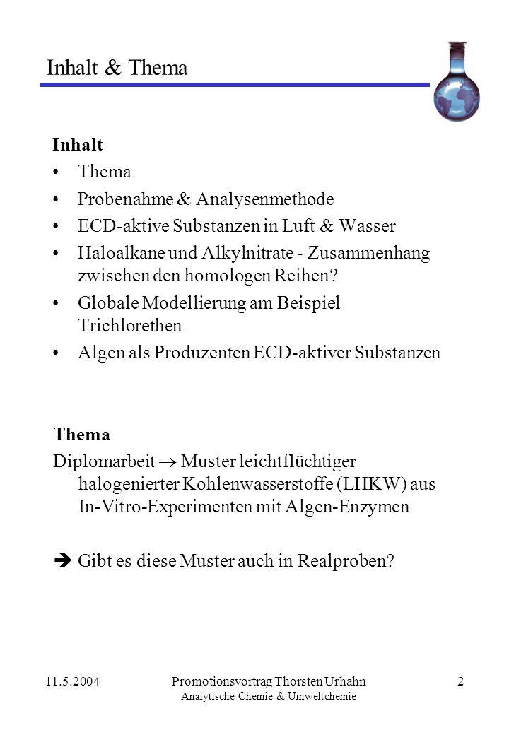 11.5.2004Promotionsvortrag Thorsten Urhahn Analytische Chemie & Umweltchemie 2 Inhalt & Thema Inhalt Thema Probenahme & Analysenmethode ECD-aktive Sub