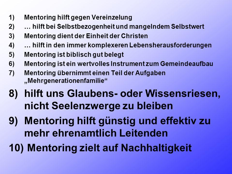 1)Mentoring hilft gegen Vereinzelung 2)… hilft bei Selbstbezogenheit und mangelndem Selbstwert 3)Mentoring dient der Einheit der Christen 4)… hilft in