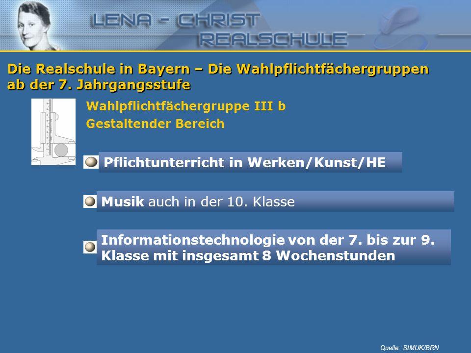 Die Realschule in Bayern – Die Wahlpflichtfächergruppen ab der 7. Jahrgangsstufe Wahlpflichtfächergruppe III b Gestaltender Bereich Pflichtunterricht