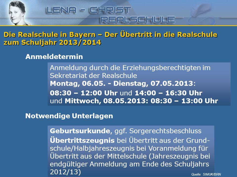 Die Realschule in Bayern – Der Übertritt in die Realschule zum Schuljahr 2013/2014 Anmeldetermin Anmeldung durch die Erziehungsberechtigten im Sekreta