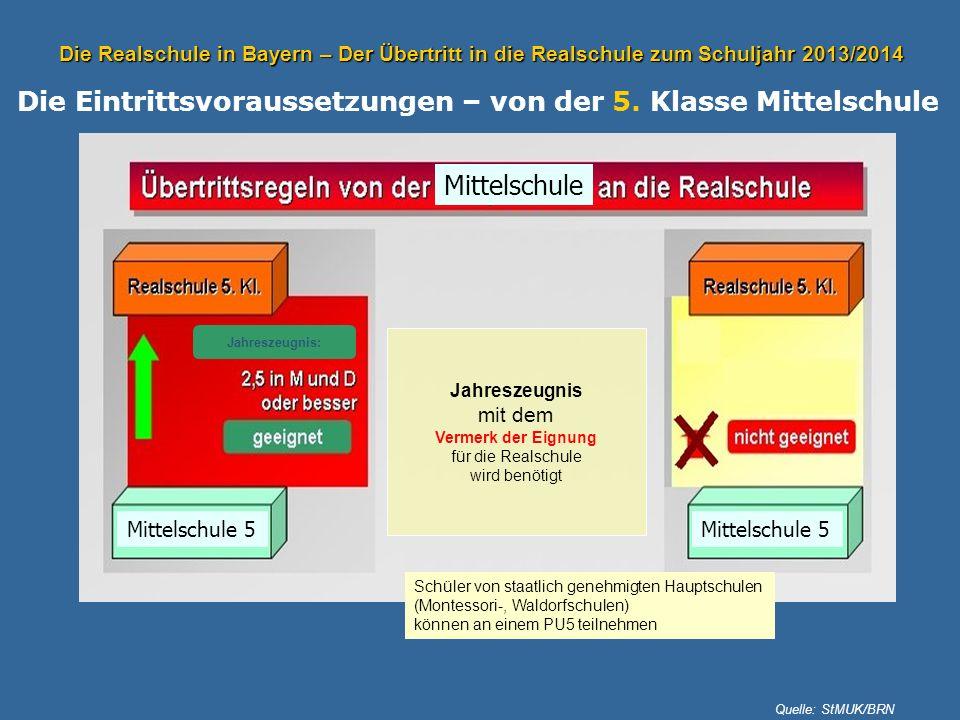 Die Realschule in Bayern – Der Übertritt in die Realschule zum Schuljahr 2013/2014 Die Eintrittsvoraussetzungen – von der 5. Klasse Mittelschule Quell