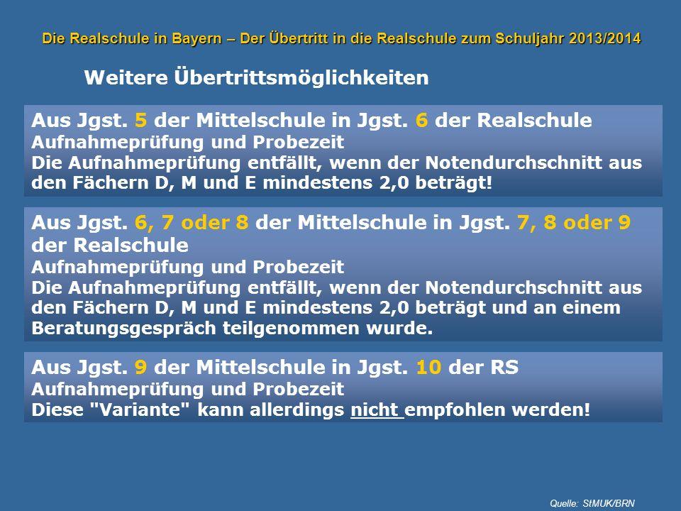 Die Realschule in Bayern – Der Übertritt in die Realschule zum Schuljahr 2013/2014 Weitere Übertrittsmöglichkeiten Aus Jgst. 5 der Mittelschule in Jgs