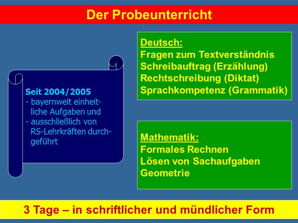 Der Probeunterricht Deutsch: Fragen zum Textverständnis Schreibauftrag (Erzählung) Rechtschreibung (Diktat) Sprachkompetenz (Grammatik) Seit 2004/2005