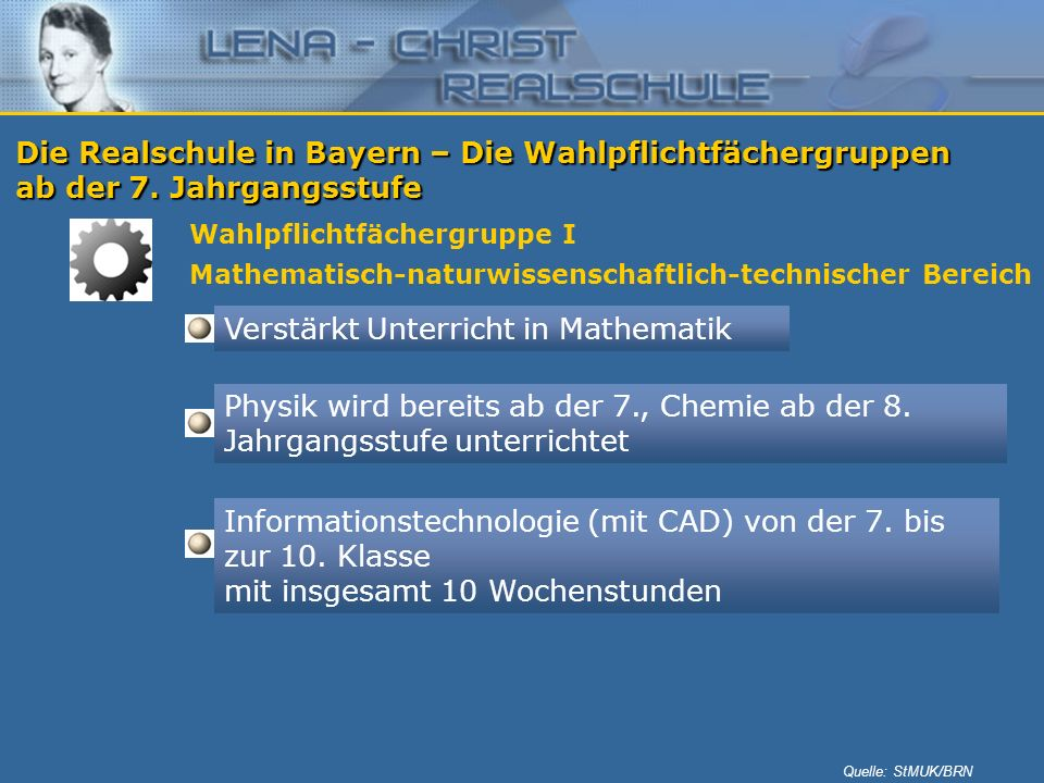 Die Realschule in Bayern – Die Wahlpflichtfächergruppen ab der 7. Jahrgangsstufe Wahlpflichtfächergruppe I Mathematisch-naturwissenschaftlich-technisc