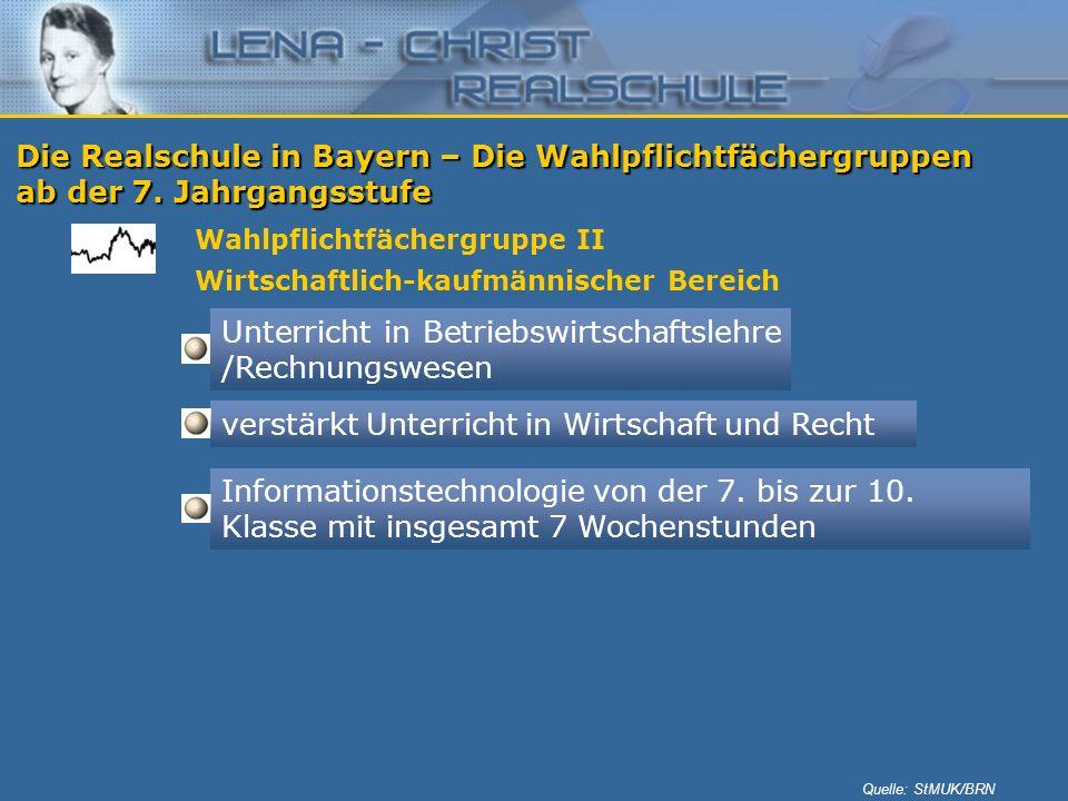 Die Realschule in Bayern – Die Wahlpflichtfächergruppen ab der 7. Jahrgangsstufe Wahlpflichtfächergruppe II Wirtschaftlich-kaufmännischer Bereich Unte