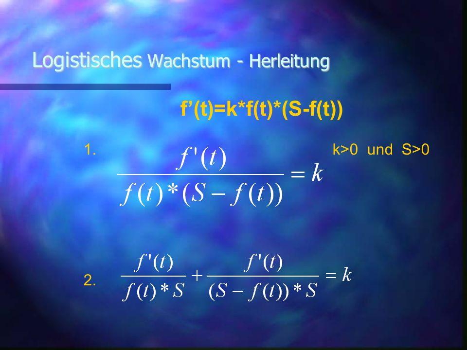 Logistisches Wachstum - Herleitung f(t)=k*f(t)*(S-f(t)) 1. k>0 und S>0 2. 2.Erklärung: