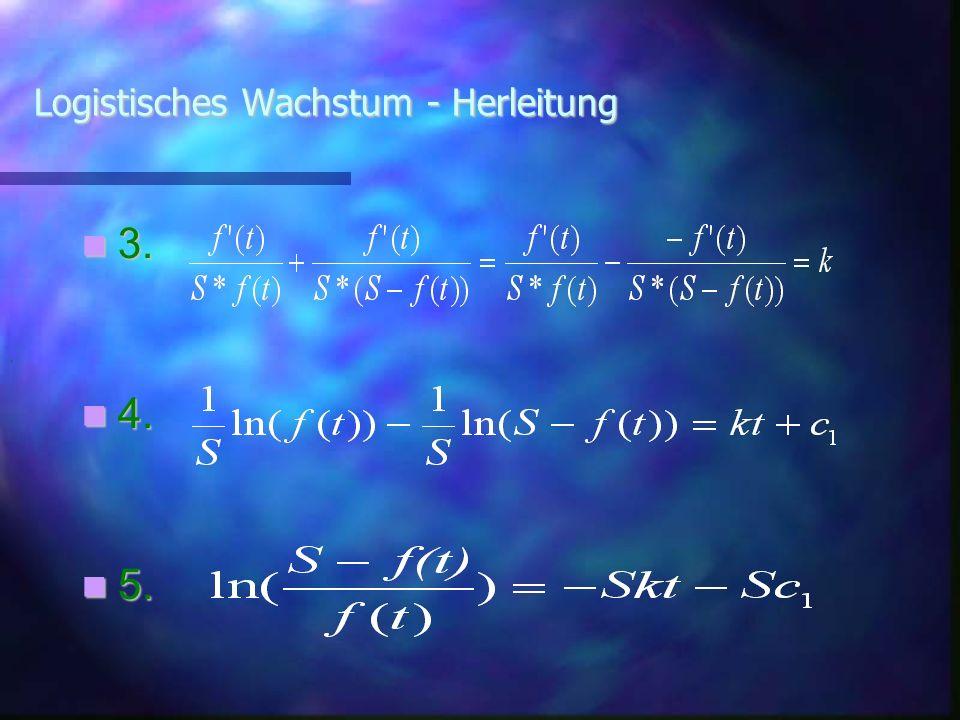 Logistisches Wachstum - Herleitung 3. 3. 4. 4. 5. 5..