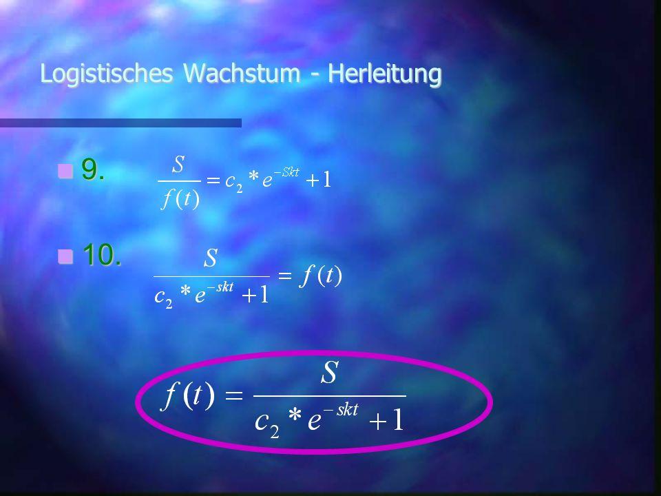 Logistisches Wachstum - Herleitung a=Anfangsbestand dann ist f(t) :