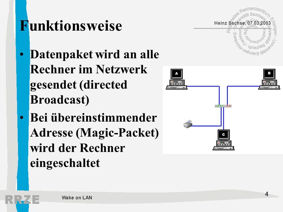 4 Heinz Sachse, 07.03.2003 Wake on LAN Funktionsweise Datenpaket wird an alle Rechner im Netzwerk gesendet (directed Broadcast) Bei übereinstimmender