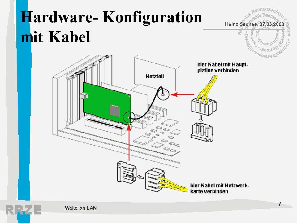 8 Heinz Sachse, 07.03.2003 Wake on LAN BIOS-Einstellungen für AwardBIOS: Register Power –Power Up Control Wake on LAN oder Power up on PCI Card zum aktivieren den Wert [Enabled] zuweisen
