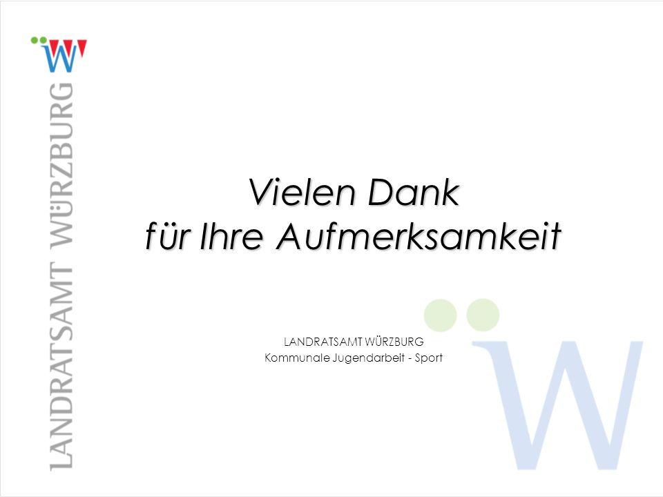 Vielen Dank für Ihre Aufmerksamkeit LANDRATSAMT WÜRZBURG Kommunale Jugendarbeit - Sport