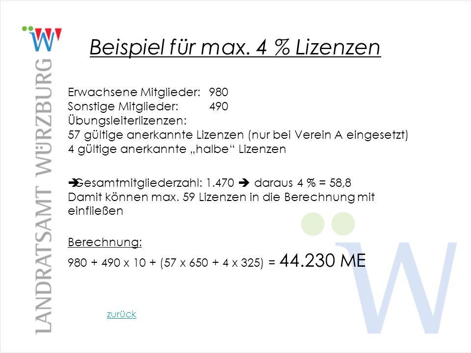Beispiel für max. 4 % Lizenzen Erwachsene Mitglieder:980 Sonstige Mitglieder:490 Übungsleiterlizenzen: 57 gültige anerkannte Lizenzen (nur bei Verein