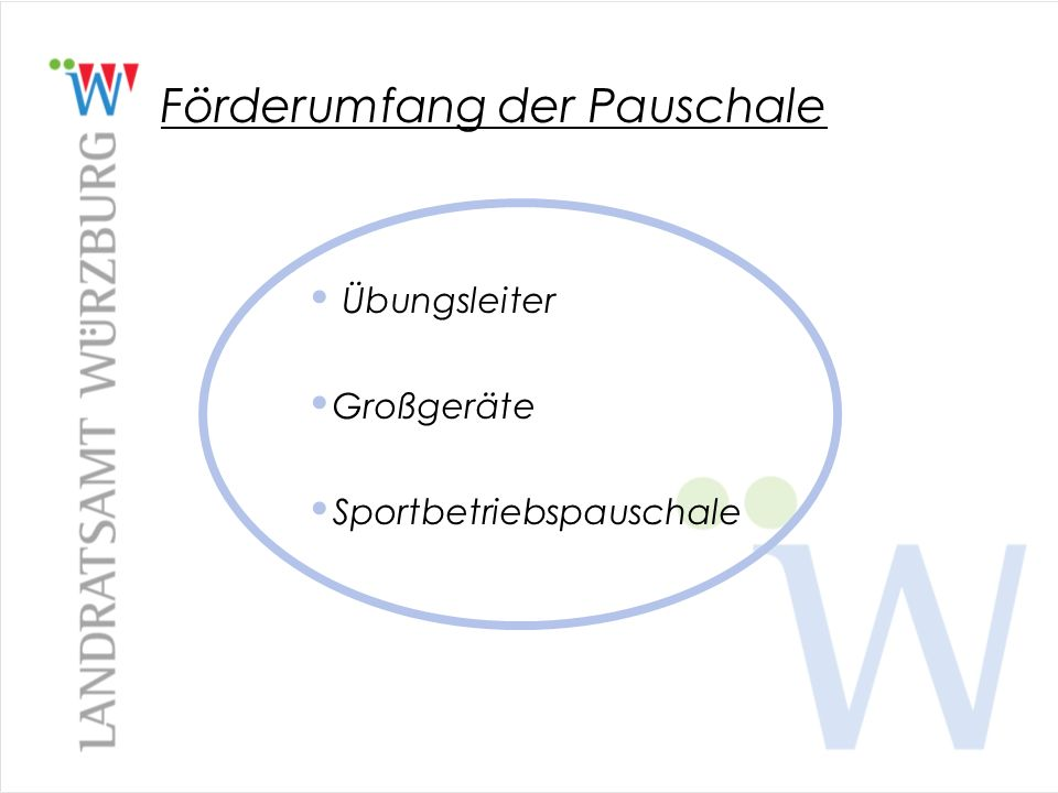 Zuschuss des Landkreises Würzburg Der Landkreis Würzburg verfährt analog der Richtlinien des Freistaates Bayern.