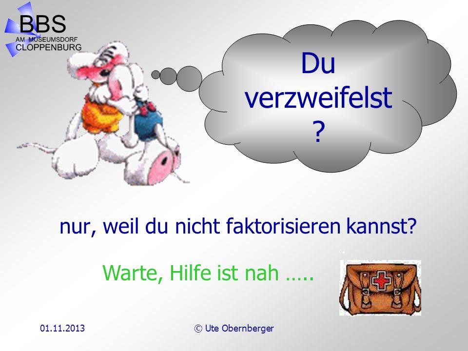 01.11.2013© Ute Obernberger Faktorisieren Ein Lehrgang