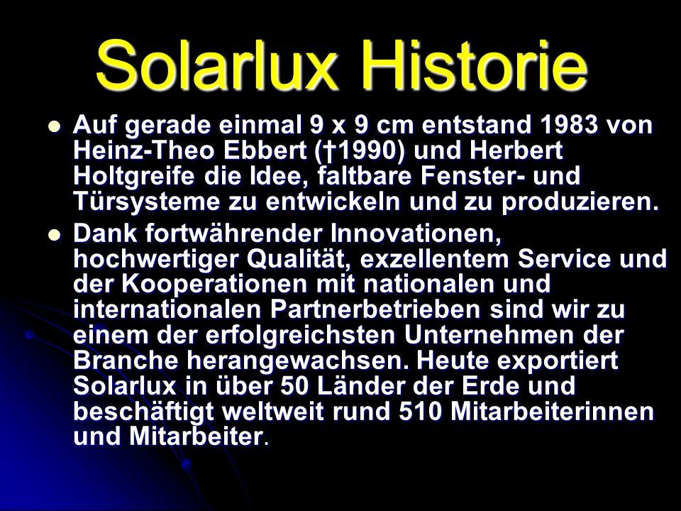 1983 - Gründung des Unternehmens 1983 - Gründung des Unternehmens 1988 - Erster ausländischer Kooperationsvertrag mit einem der größten japanischen Hersteller von Aluminiumfenstern und -Türen 1988 - Erster ausländischer Kooperationsvertrag mit einem der größten japanischen Hersteller von Aluminiumfenstern und -Türen 1989 - Bau der ersten Produktionsstätte im sauerländischen Olpe 1989 - Bau der ersten Produktionsstätte im sauerländischen Olpe 1992 - Gründung der Solarlux-Tochter Schweiz 1992 - Gründung der Solarlux-Tochter Schweiz 1995 - Bau einer neuen Produktionsstätte 1995 - Bau einer neuen Produktionsstätte in Bissendorf in Bissendorf