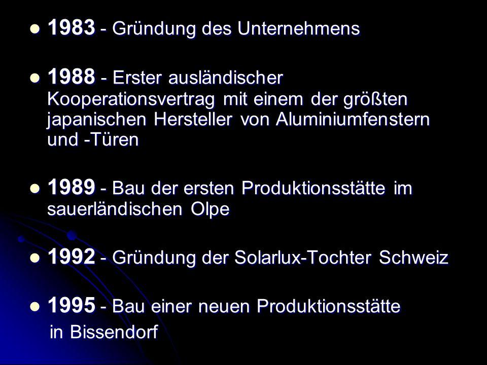 1997 - Kooperation mit dem Partner NanaWall Systems in den USA 1997 - Kooperation mit dem Partner NanaWall Systems in den USA 1998 - Gründung der Solarlux-Tochter in Großbritannien 1998 - Gründung der Solarlux-Tochter in Großbritannien 1999 - Eröffnung eines Verkaufsbüros in Österreich 1999 - Eröffnung eines Verkaufsbüros in Österreich 1999 - Gründung der Solarlux-Tochter in Holland 1999 - Gründung der Solarlux-Tochter in Holland 2000 - Neubau des Solarlux-Forums mit 2000 qm Ausstellungsfläche 2000 - Neubau des Solarlux-Forums mit 2000 qm Ausstellungsfläche