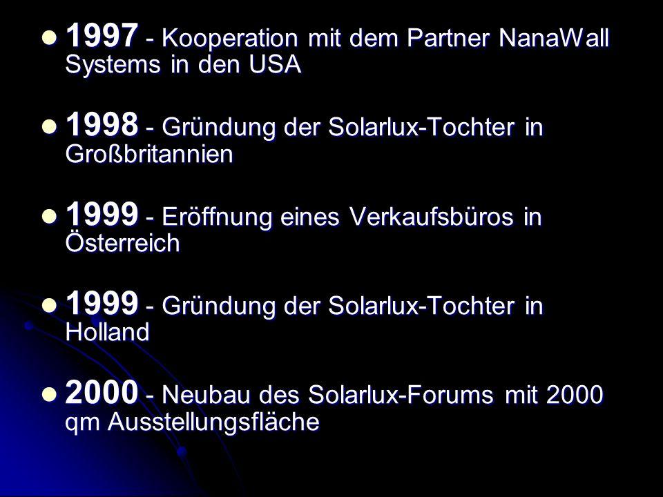 1997 - Kooperation mit dem Partner NanaWall Systems in den USA 1997 - Kooperation mit dem Partner NanaWall Systems in den USA 1998 - Gründung der Sola