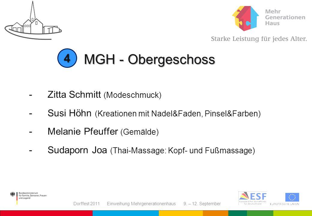 Dorffest 2011 Einweihung Mehrgenerationenhaus 9. – 12. September -Zitta Schmitt (Modeschmuck) - Susi Höhn (Kreationen mit Nadel&Faden, Pinsel&Farben)