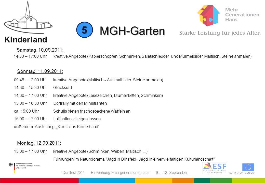Dorffest 2011 Einweihung Mehrgenerationenhaus 9. – 12. September MGH-Garten Kinderland Sonntag, 11.09.2011: 09:45 – 12:00 Uhrkreative Angebote (Maltis