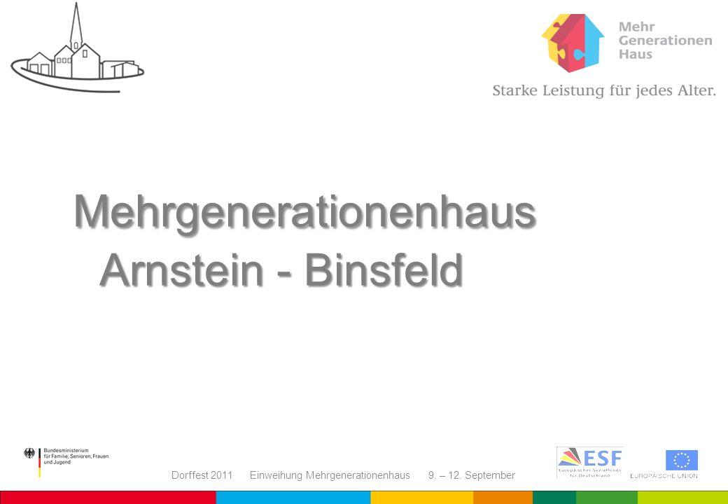 Dorffest 2011 Einweihung Mehrgenerationenhaus 9. – 12. September Mehrgenerationenhaus Arnstein - Binsfeld