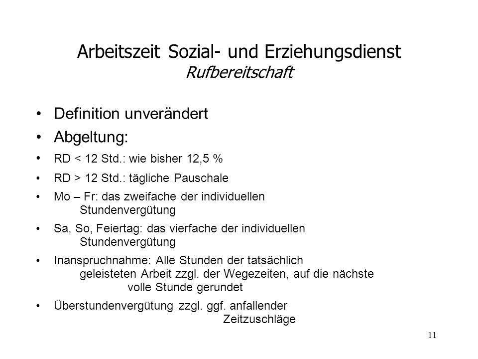11 Arbeitszeit Sozial- und Erziehungsdienst Rufbereitschaft Definition unverändert Abgeltung: RD < 12 Std.: wie bisher 12,5 % RD > 12 Std.: tägliche P