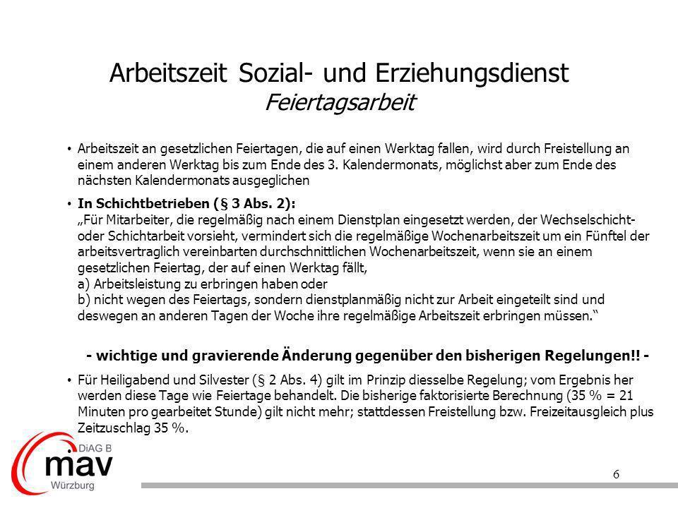 7 Arbeitszeit Sozial- und Erziehungsdienst Nachtarbeit § 4 Abs.