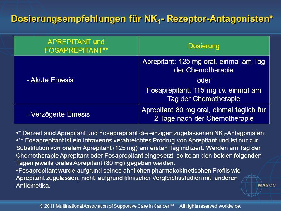 © 2011 Multinational Association of Supportive Care in Cancer TM All rights reserved worldwide. Dosierungsempfehlungen für NK 1 - Rezeptor-Antagoniste