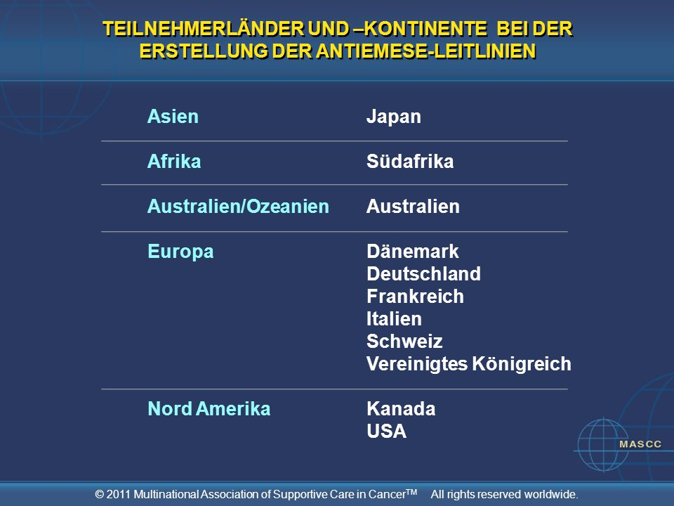 © 2011 Multinational Association of Supportive Care in Cancer TM All rights reserved worldwide. TEILNEHMERLÄNDER UND –KONTINENTE BEI DER ERSTELLUNG DE