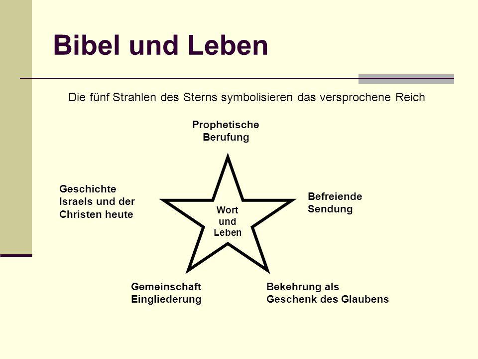 Bibel und Leben Die fünf Strahlen des Sterns symbolisieren das versprochene Reich Wort und Leben Prophetische Berufung Befreiende Sendung Geschichte I