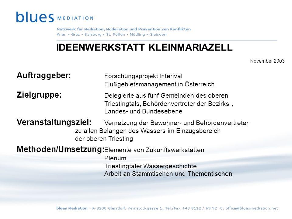 Einstiegsrunde 35 Teilnehmer lernen sich kennen 2 Projekttage für alle wesentlichen Themen mit Wasserbezug IDEENWERKSTATT KLEINMARIAZELL November 2003