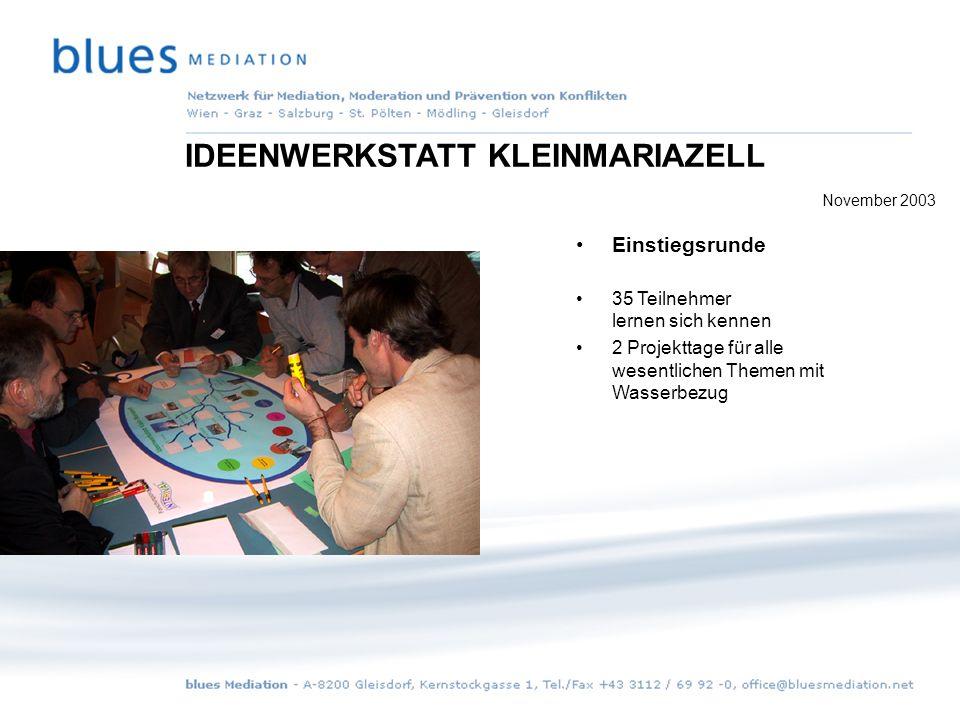 Umsetzung: 4 Themen der Materie Wasser werden gemeinsam ausgewählt Aufstellung der zur Umsetzung notwendigen Arbeitsschritte IDEENWERKSTATT KLEINMARIAZELL November 2003