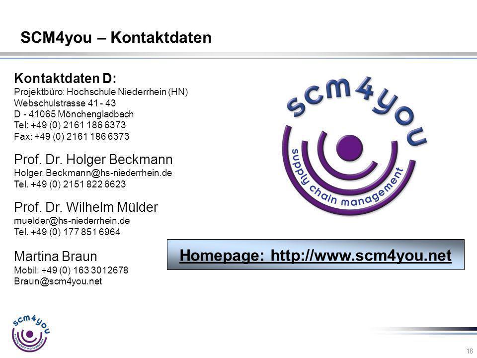 18 SCM4you – Kontaktdaten Kontaktdaten D: Projektbüro: Hochschule Niederrhein (HN) Webschulstrasse 41 - 43 D - 41065 Mönchengladbach Tel: +49 (0) 2161