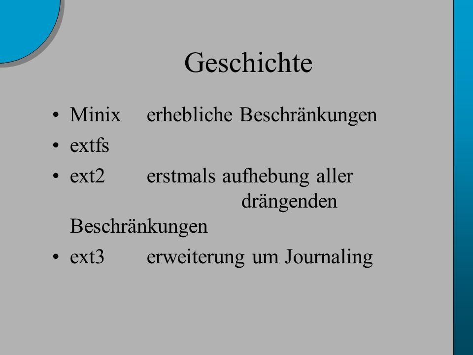 Geschichte Minixerhebliche Beschränkungen extfs ext2erstmals aufhebung aller drängenden Beschränkungen ext3erweiterung um Journaling
