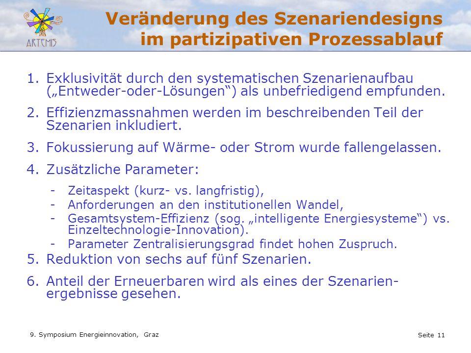Seite 11 9. Symposium Energieinnovation, Graz Veränderung des Szenariendesigns im partizipativen Prozessablauf 1.Exklusivität durch den systematischen