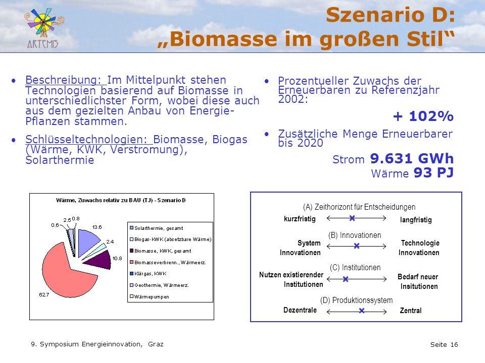Seite 16 9. Symposium Energieinnovation, Graz Szenario D: Biomasse im großen Stil Beschreibung: Im Mittelpunkt stehen Technologien basierend auf Bioma