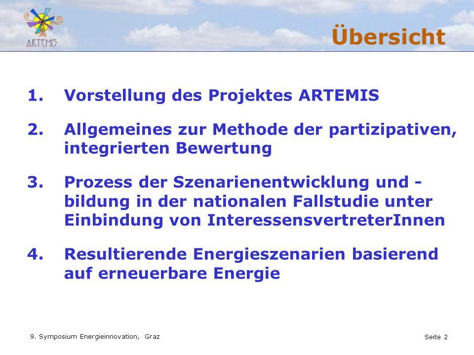 Seite 2 9. Symposium Energieinnovation, Graz 1.Vorstellung des Projektes ARTEMIS 2.Allgemeines zur Methode der partizipativen, integrierten Bewertung