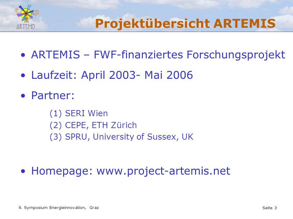 Seite 3 9. Symposium Energieinnovation, Graz Projektübersicht ARTEMIS ARTEMIS – FWF-finanziertes Forschungsprojekt Laufzeit: April 2003- Mai 2006 Part
