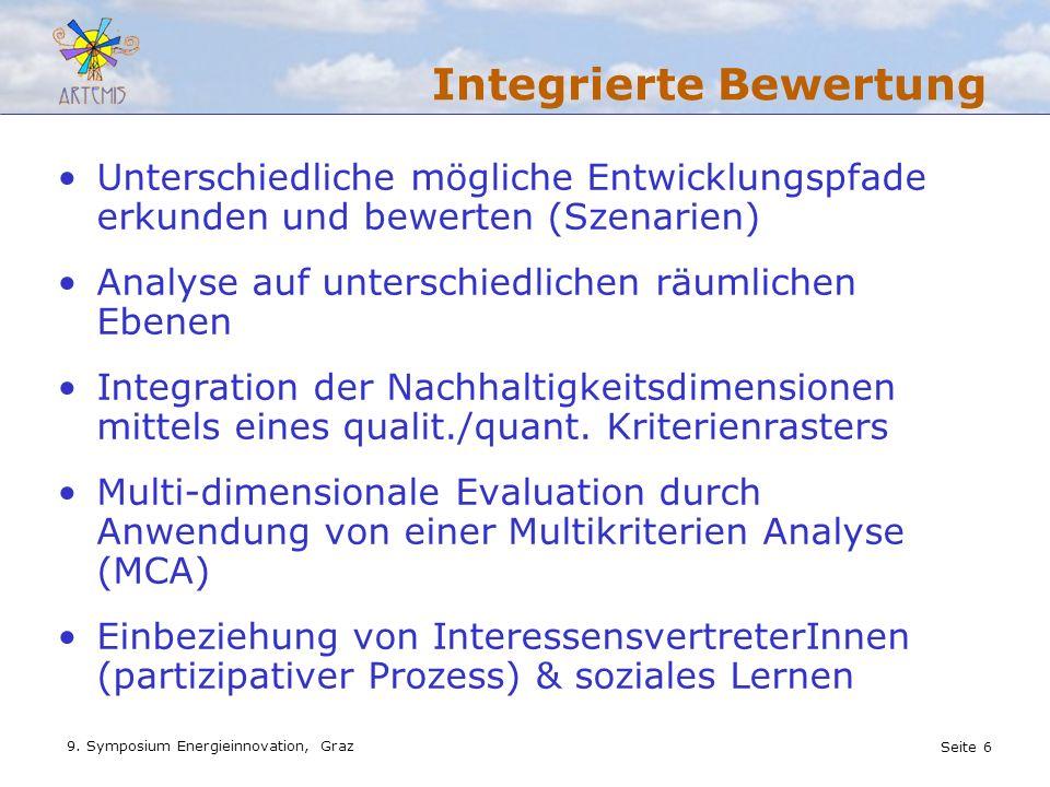 Seite 6 9. Symposium Energieinnovation, Graz Integrierte Bewertung Unterschiedliche mögliche Entwicklungspfade erkunden und bewerten (Szenarien) Analy