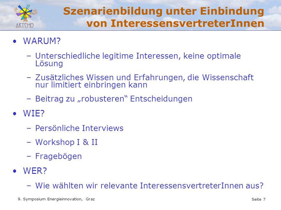 Seite 7 9. Symposium Energieinnovation, Graz Szenarienbildung unter Einbindung von InteressensvertreterInnen WARUM? –Unterschiedliche legitime Interes