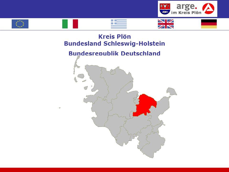 Daten Kreis Plön, Stand Februar 2009 4 Städte 82 Dörfer/Gemeinden Die Betreuung der Arbeitslosen geschieht durch die Agentur für Arbeit (Versicherungsprinzip) und durch die Arbeitsgemeinschaft (steuerfinanziert).