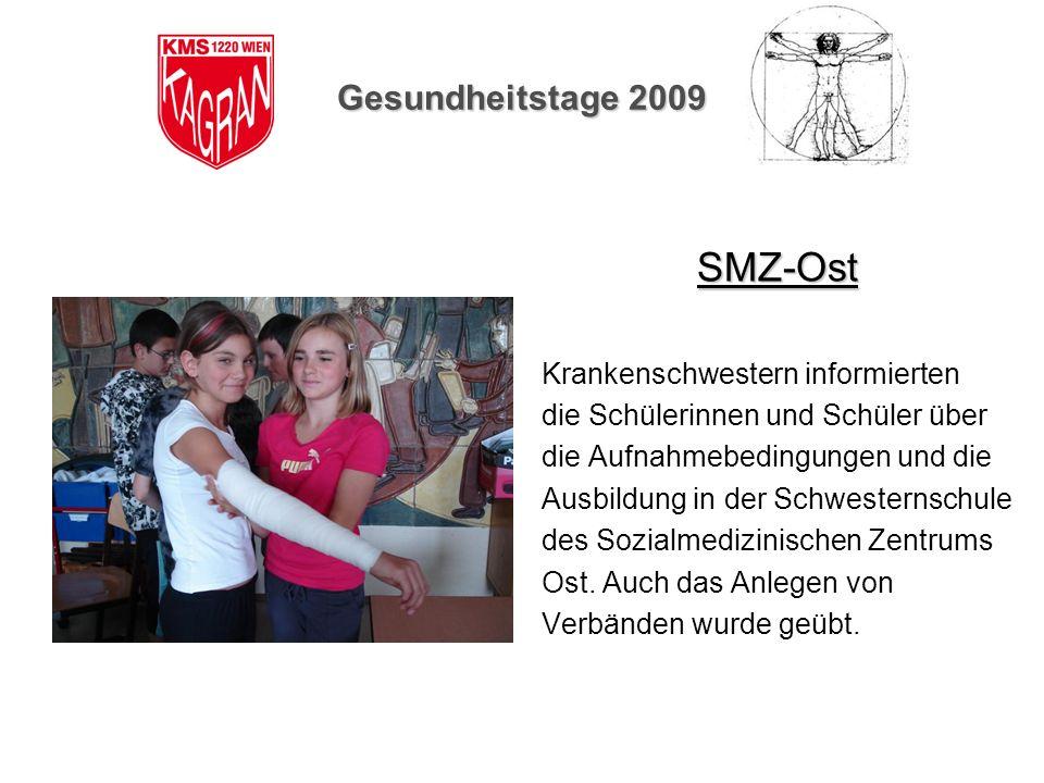 Gesundheitstage 2009 SMZ-Ost Krankenschwestern informierten die Schülerinnen und Schüler über die Aufnahmebedingungen und die Ausbildung in der Schwes