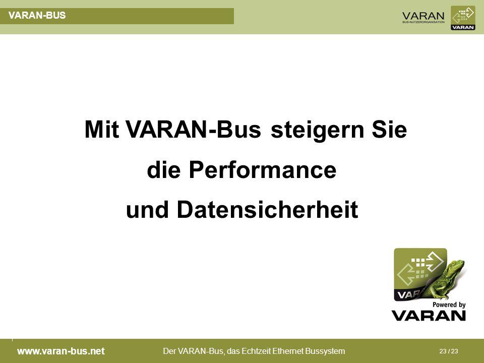 Der VARAN-Bus, das Echtzeit Ethernet Bussystem www.varan-bus.net 23 / 23 VARAN-BUS Mit VARAN-Bus steigern Sie die Performance und Datensicherheit