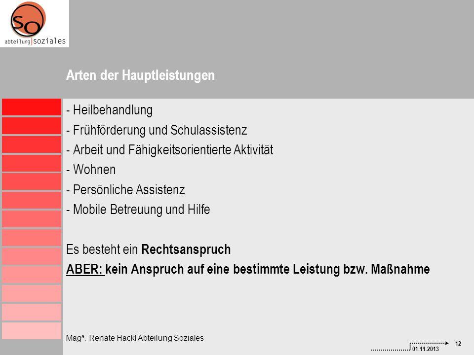12 01.11.2013 Mag a. Renate Hackl Abteilung Soziales Arten der Hauptleistungen - Heilbehandlung - Frühförderung und Schulassistenz - Arbeit und Fähigk