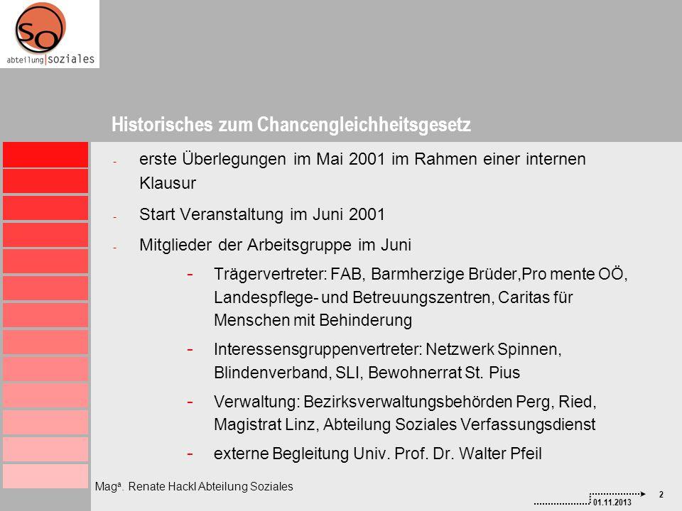 2 01.11.2013 Mag a. Renate Hackl Abteilung Soziales - erste Überlegungen im Mai 2001 im Rahmen einer internen Klausur - Start Veranstaltung im Juni 20
