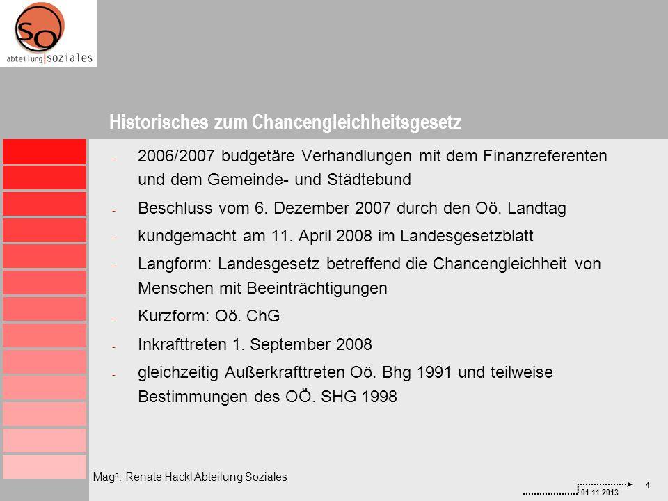 4 01.11.2013 Mag a. Renate Hackl Abteilung Soziales - 2006/2007 budgetäre Verhandlungen mit dem Finanzreferenten und dem Gemeinde- und Städtebund - Be