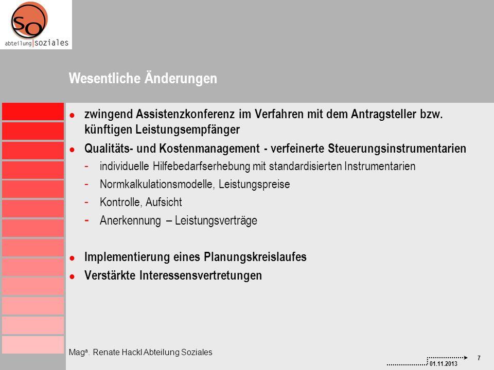7 01.11.2013 Mag a. Renate Hackl Abteilung Soziales Wesentliche Änderungen zwingend Assistenzkonferenz im Verfahren mit dem Antragsteller bzw. künftig