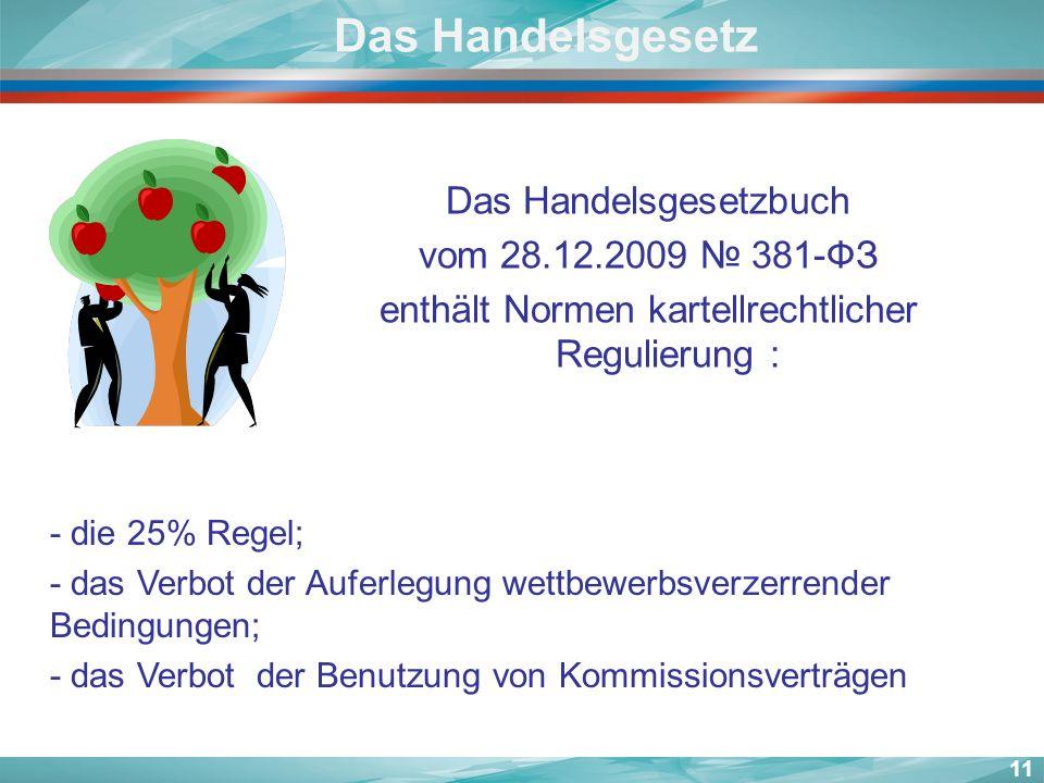 11 Das Handelsgesetz Das Handelsgesetzbuch vom 28.12.2009 381-ФЗ enthält Normen kartellrechtlicher Regulierung : -- die 25% Regel; -- das Verbot der A