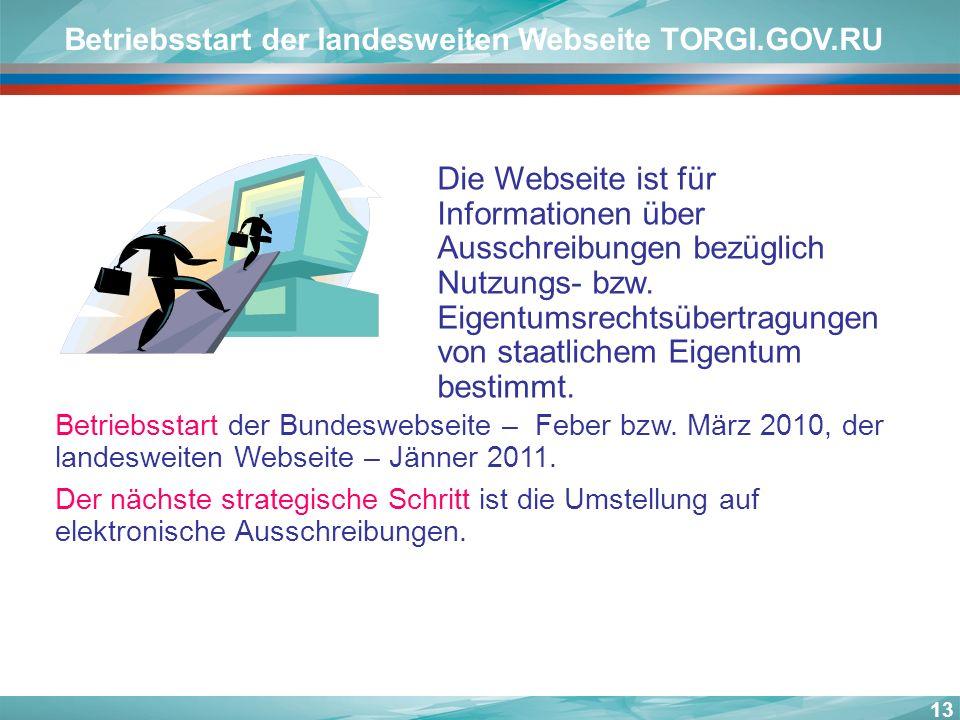 13 Betriebsstart der landesweiten Webseite TORGI.GOV.RU Die Webseite ist für Informationen über Ausschreibungen bezüglich Nutzungs- bzw. Eigentumsrech