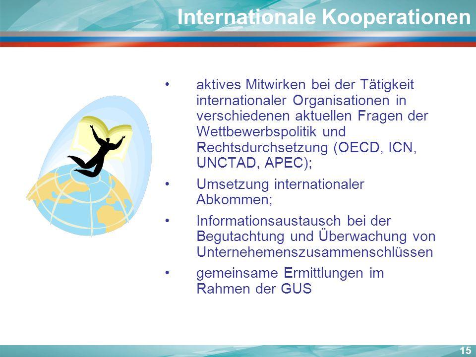 aktives Mitwirken bei der Tätigkeit internationaler Organisationen in verschiedenen aktuellen Fragen der Wettbewerbspolitik und Rechtsdurchsetzung (OE